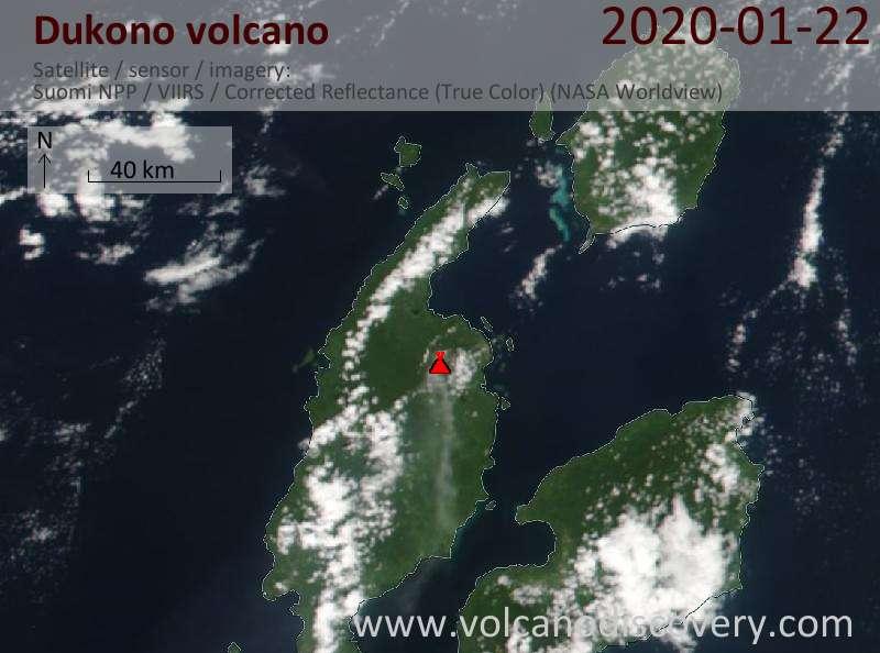 Спутниковое изображение вулкана Dukono 22 Jan 2020