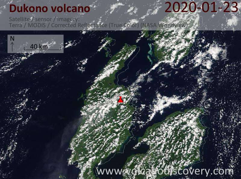 Satellite image of Dukono volcano on 23 Jan 2020