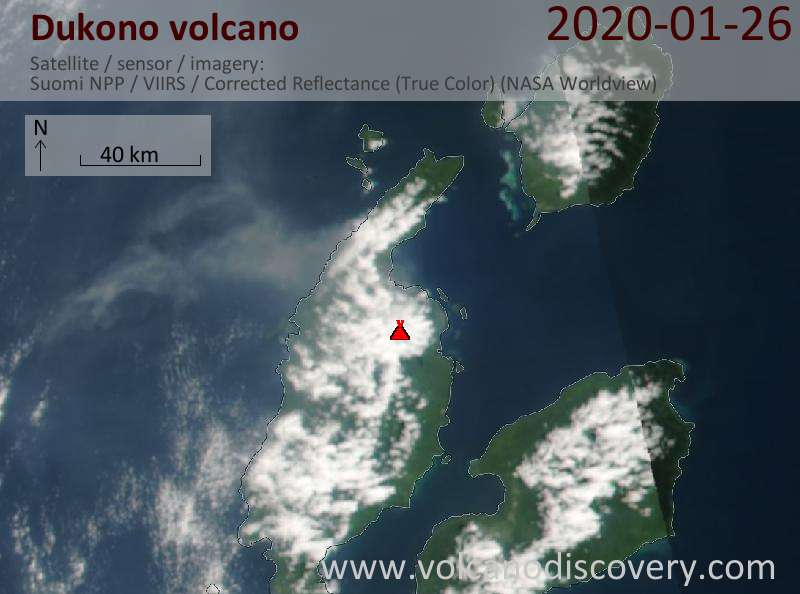Satellite image of Dukono volcano on 27 Jan 2020