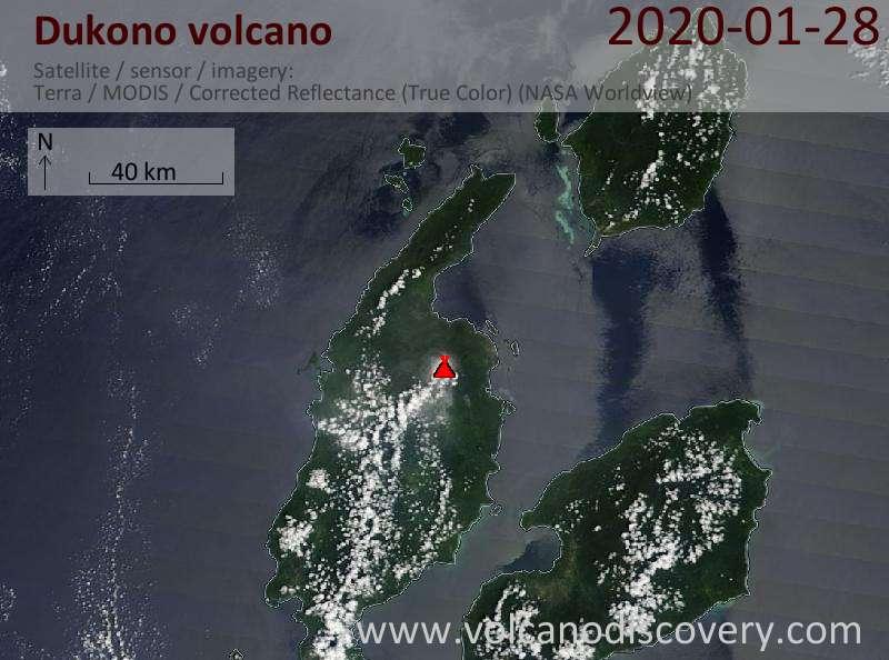 Satellite image of Dukono volcano on 28 Jan 2020