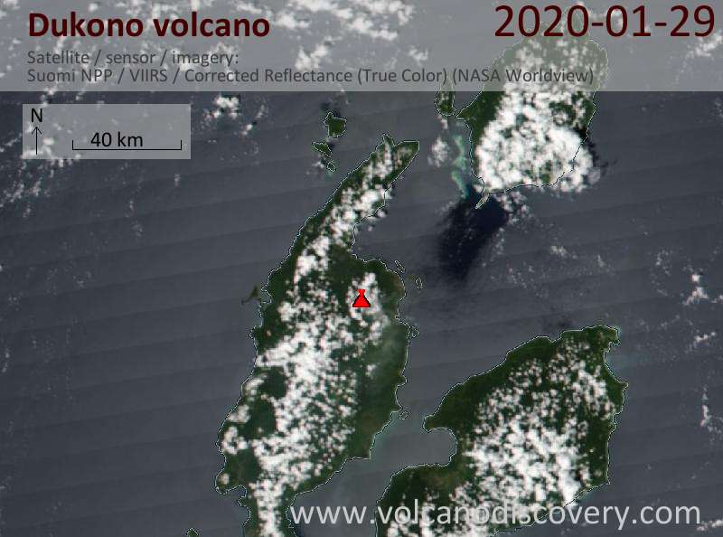 Satellitenbild des Dukono Vulkans am 29 Jan 2020
