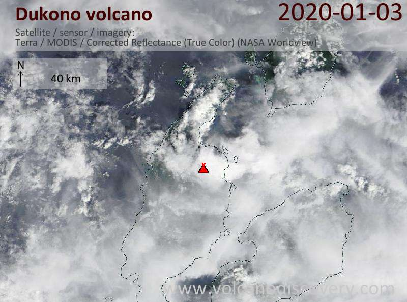 Satellitenbild des Dukono Vulkans am  3 Jan 2020