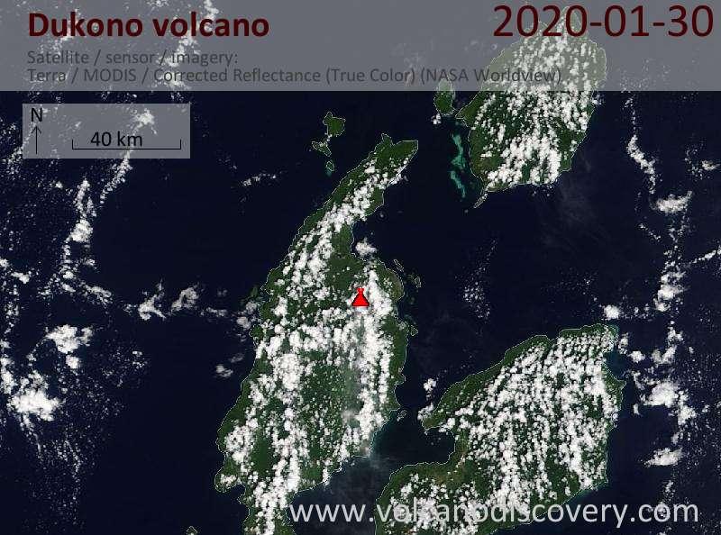 Satellite image of Dukono volcano on 30 Jan 2020