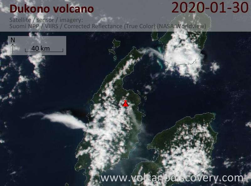 Satellite image of Dukono volcano on 31 Jan 2020