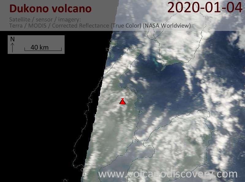 Satellite image of Dukono volcano on  4 Jan 2020