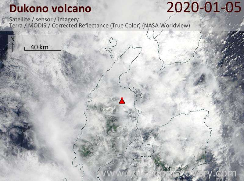 Satellite image of Dukono volcano on  5 Jan 2020
