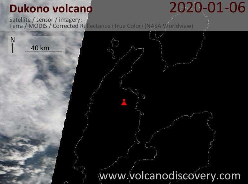Спутниковое изображение вулкана Dukono  6 Jan 2020