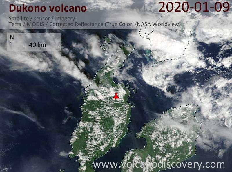 Спутниковое изображение вулкана Dukono  9 Jan 2020