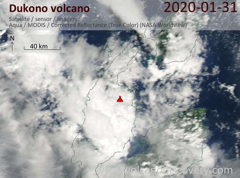 Satellite image of Dukono volcano on  1 Feb 2020