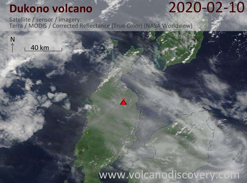 Satellitenbild des Dukono Vulkans am 10 Feb 2020