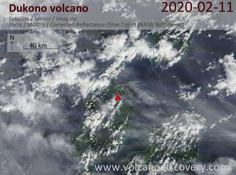 Satellite image of Dukono volcano on 11 Feb 2020
