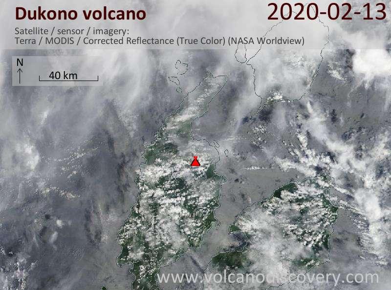 Спутниковое изображение вулкана Dukono 13 Feb 2020