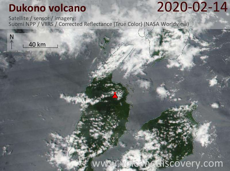 Satellite image of Dukono volcano on 14 Feb 2020