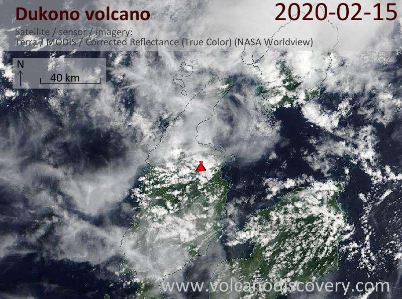 Satellite image of Dukono volcano on 15 Feb 2020