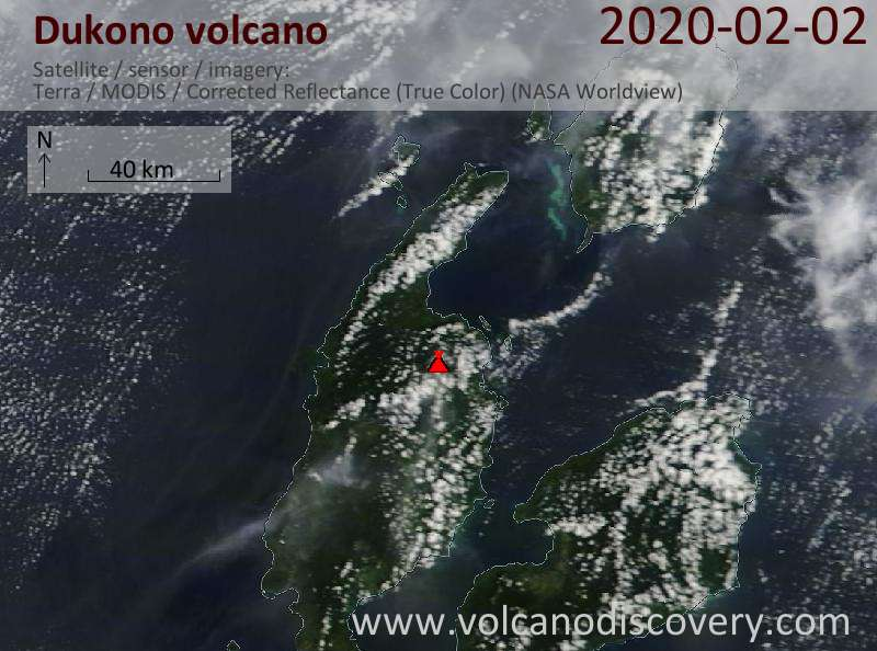 Satellite image of Dukono volcano on  2 Feb 2020