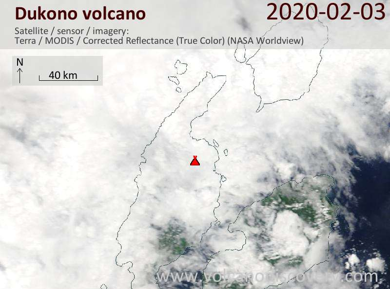 Satellite image of Dukono volcano on  3 Feb 2020