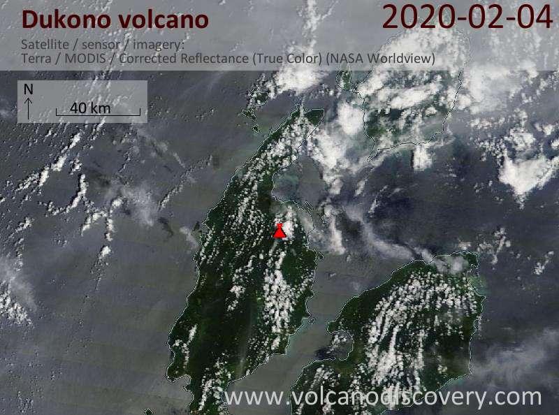 Satellite image of Dukono volcano on  4 Feb 2020