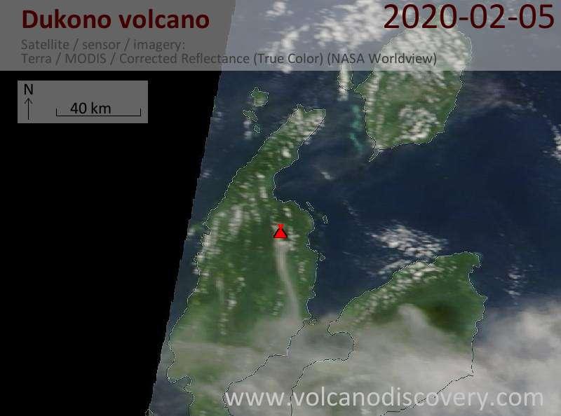 Satellitenbild des Dukono Vulkans am  5 Feb 2020