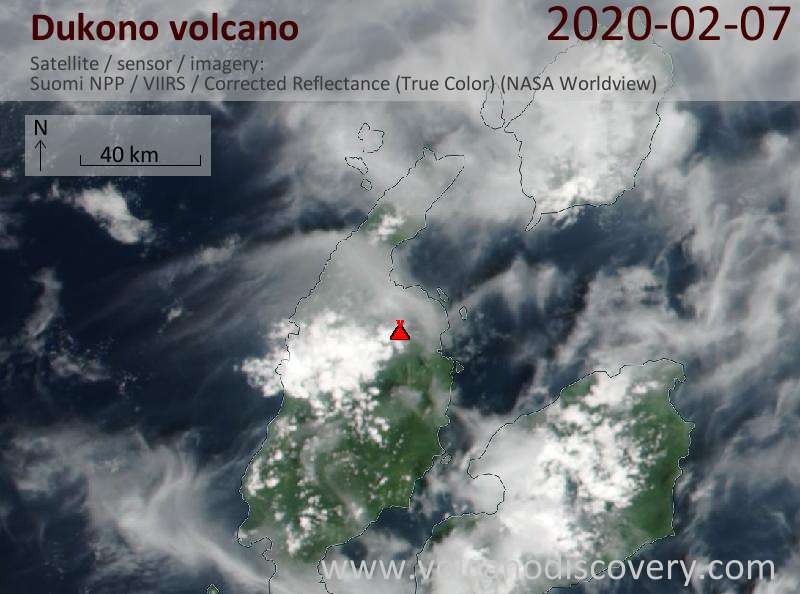 Satellite image of Dukono volcano on  7 Feb 2020
