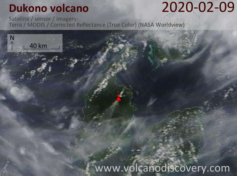 Satellite image of Dukono volcano on  9 Feb 2020