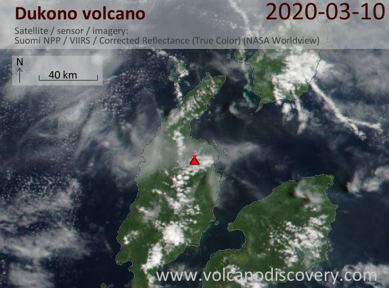 Satellite image of Dukono volcano on 10 Mar 2020