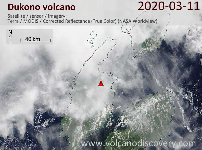 Satellite image of Dukono volcano on 11 Mar 2020