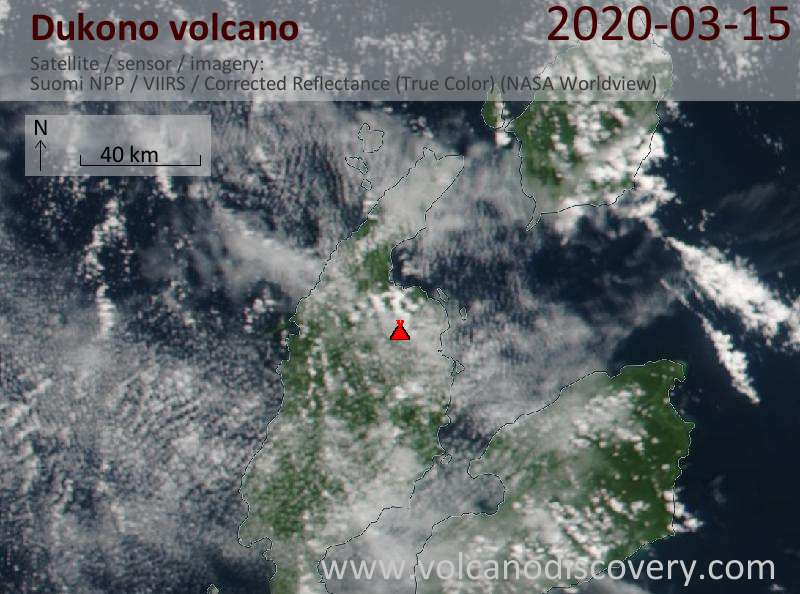 Satellite image of Dukono volcano on 16 Mar 2020