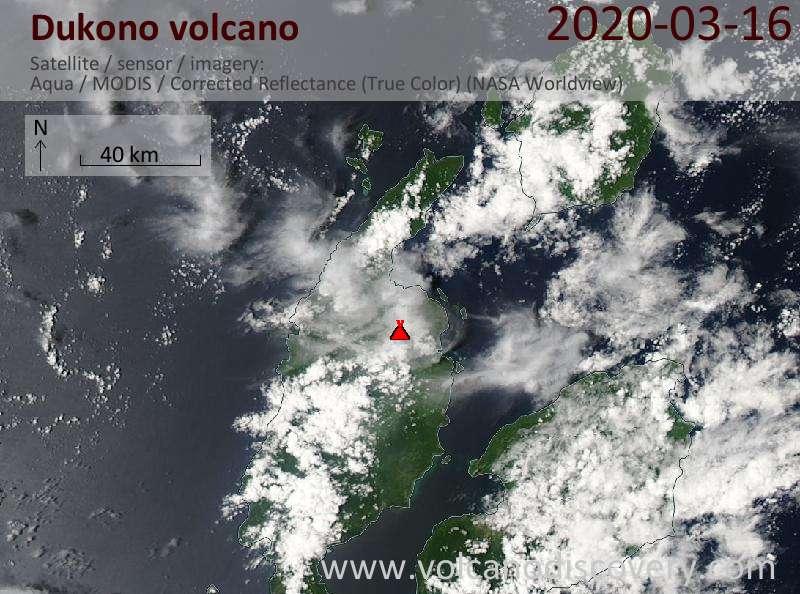 Satellite image of Dukono volcano on 17 Mar 2020