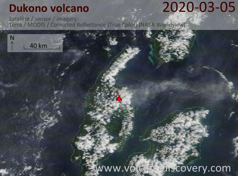 Satellite image of Dukono volcano on  5 Mar 2020