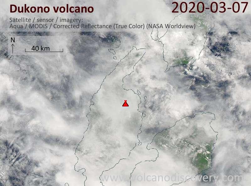 Satellite image of Dukono volcano on  7 Mar 2020