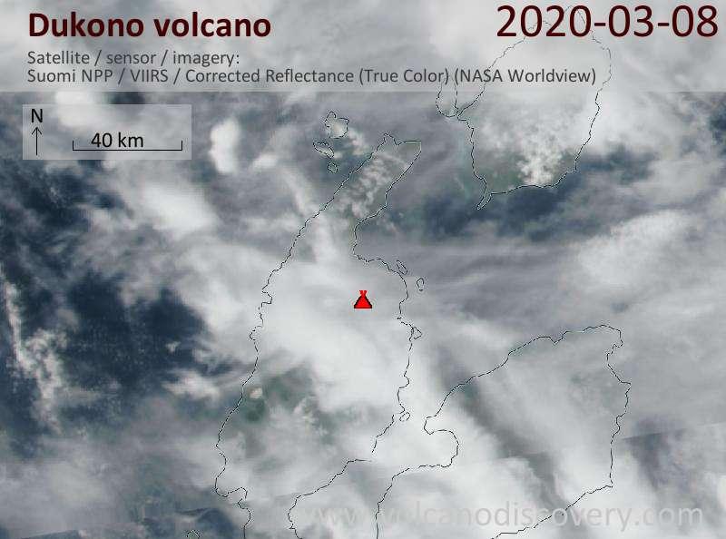 Satellite image of Dukono volcano on  8 Mar 2020