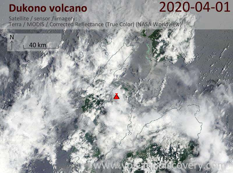 Satellite image of Dukono volcano on  1 Apr 2020