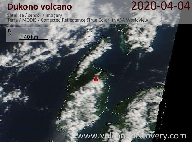 Спутниковое изображение вулкана Dukono  4 Apr 2020