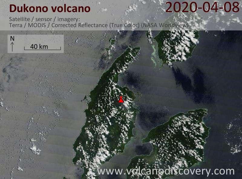 Satellite image of Dukono volcano on  8 Apr 2020