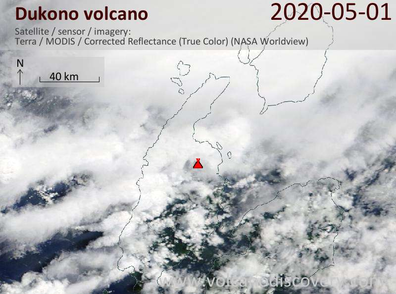 Satellite image of Dukono volcano on  1 May 2020