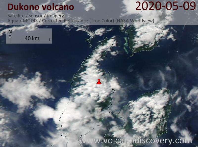Satellite image of Dukono volcano on 10 May 2020