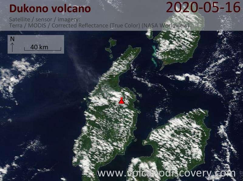 Satellite image of Dukono volcano on 16 May 2020