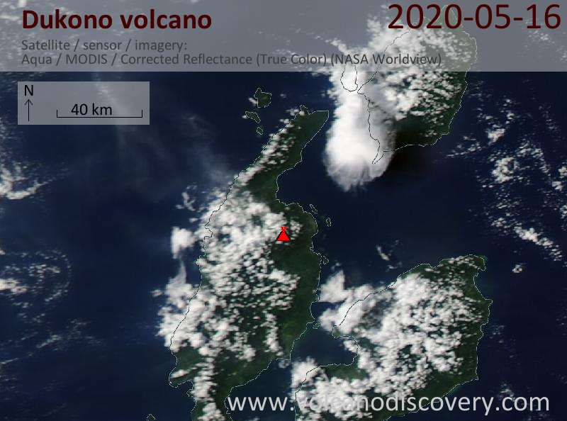 Satellite image of Dukono volcano on 17 May 2020