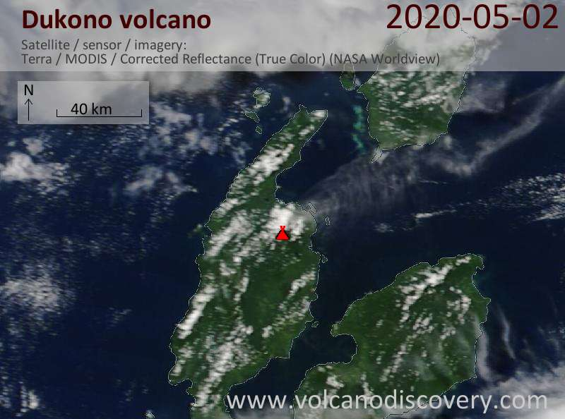 Satellite image of Dukono volcano on  2 May 2020
