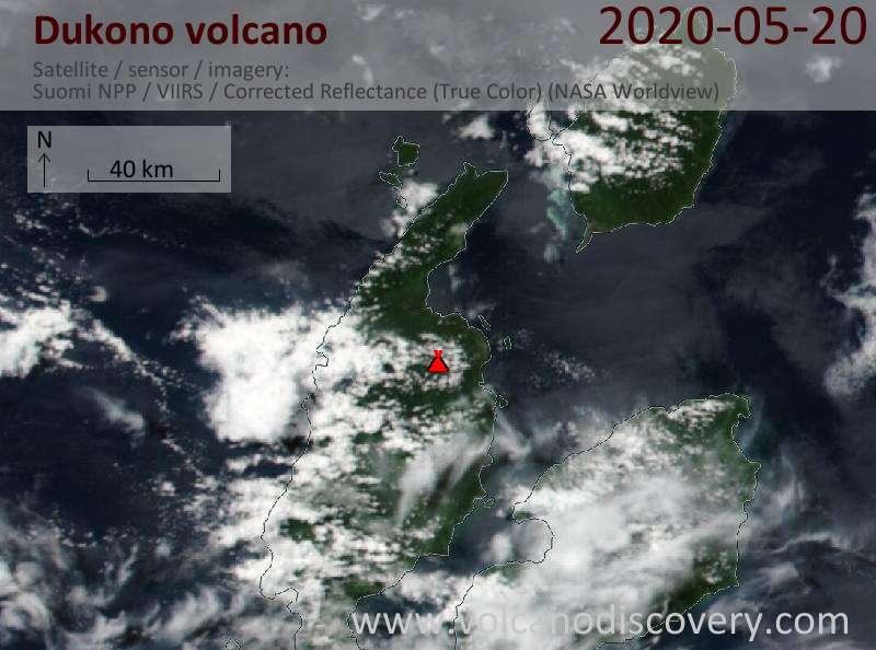 Satellite image of Dukono volcano on 21 May 2020