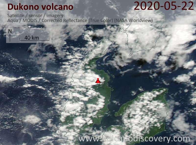 Satellite image of Dukono volcano on 22 May 2020
