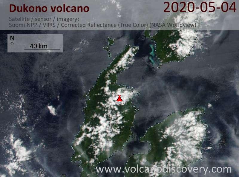 Satellite image of Dukono volcano on  4 May 2020