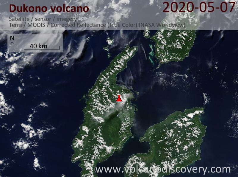 Satellite image of Dukono volcano on  7 May 2020