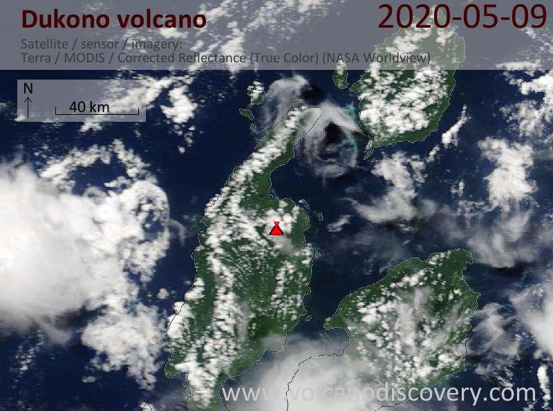 Satellite image of Dukono volcano on  9 May 2020