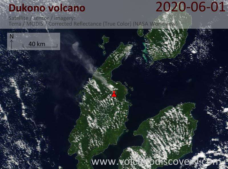 Satellite image of Dukono volcano on  1 Jun 2020