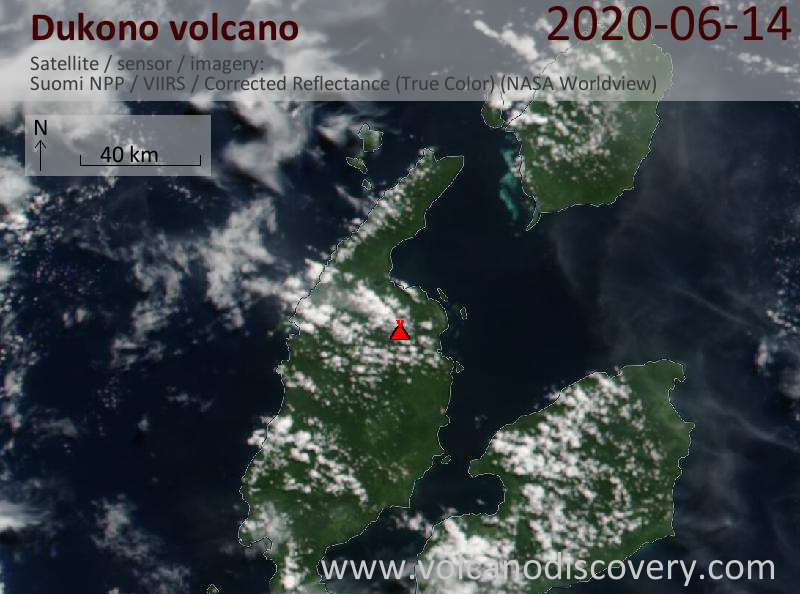 Satellite image of Dukono volcano on 14 Jun 2020
