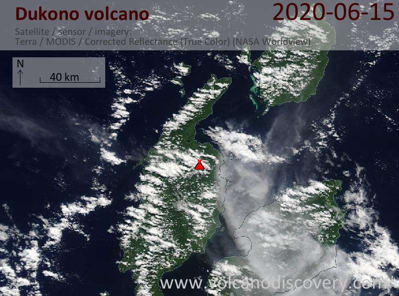 Satellite image of Dukono volcano on 15 Jun 2020