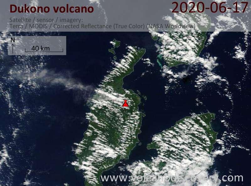 Satellite image of Dukono volcano on 17 Jun 2020