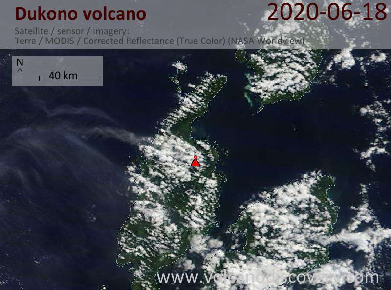 Satellite image of Dukono volcano on 18 Jun 2020