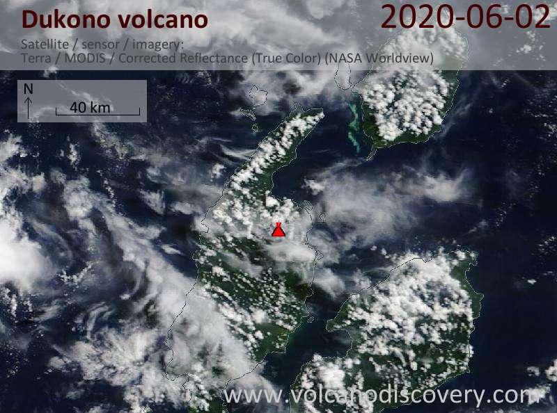 Satellite image of Dukono volcano on  2 Jun 2020